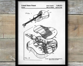 Patent Print, Martin Guitar Patent Poster, Guitar Wall Decor, Acoustic Guitar Patent, Guitar Wall Art, Musician Gifts, Music Art, P456