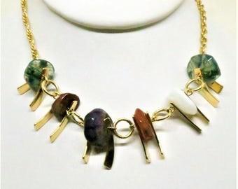 Gem Stone Necklace - Vintage, Park Lane Signed, Gold Tone