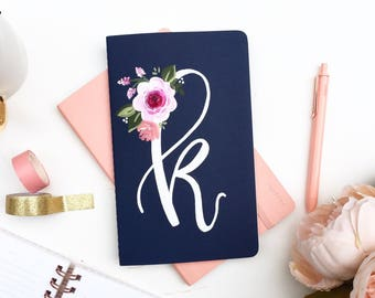Monogram Journal, Personalized Notebook, Floral Monogram, Personalized Gift, Cute Journals, Floral Notebook, Monogram Gift