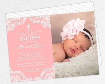 Photo Baptism Invitation, Christening Invitation, Girl Baptism Invitation, Printable Baptism, PDF, DIY, Printed, Lace Invite, Pink, Miranda