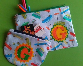 Transport. Perfectly Practical, Personalised or Plain,  Pencil case and/or Purse. Made to Order.