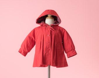 Vintage Red London Fog Hooded Winter Coat (Size 18 Months)
