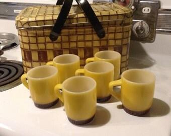 Yellow Fade to Brown Coffee Mugs, Set of 6 - Fire King