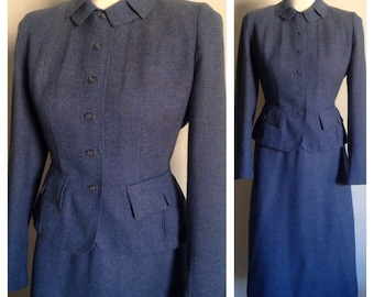 Vintage 1940s 40s 40's WWII era blue tweed light wool jacket pencil skirt fall winter suit set with pockets size S small
