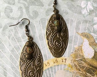 Item 281    Floral Scroll Pendant Earrings