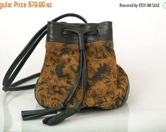 Brown Leather bucket bag,Small brown leather bag,Gift for women,FREE SHIPPING
