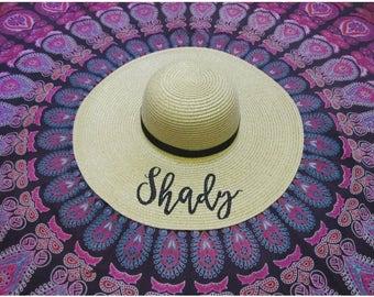 Shady Beach Hat, Floppy Hat, Ladies Sun Hat, Straw Hat, Bachelorette Party, Honeymoon Hat, Girls Weekend Away