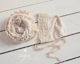 Baby newborn bonnet and wrap set in cream, with ruffled lace edge, vintage style, lace details, photo prop RTS