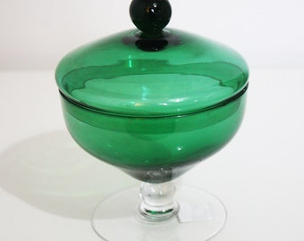 Green Glass Bon Bon Dish with Lid
