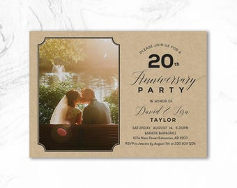 Rustic Wedding Anniversary Invitations, 20th, 25th, 40th, 50th Anniversary Party Invitation - ANN02 Kraft, Photo Invite
