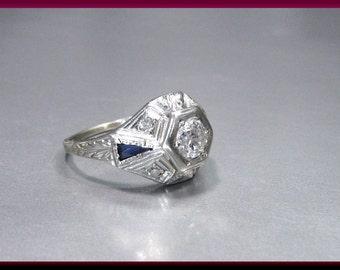Antique Vintage Art Deco 18K White Gold Old European Cut Diamond Engagement Ring Wedding Ring - ER 613M