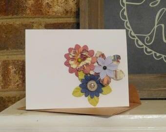 Handmade Custom Floral Note Card