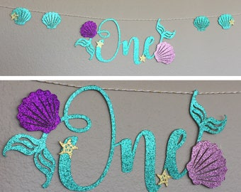 One Banner, high chair, Little Mermaid Ariel, Mermaid Letters, Happy Birthday Under The Sea Party Decor, gold starfish, Sea Shells, First 1