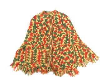 Vintage Crochet Poncho Jacket Sweater