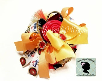 """New! 5.5 """",2 """" tulle on top, 2"""" side ribbons US Marines My daddy My hero inspired hair bow with gold diamond mesh jewels"""