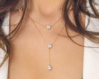 Crystal Jewerly Necklace, Bohemian Jewelry, Bridal Necklace, Cubic Zirconia Necklace, Bohemian Wedding Jewelry, Gold Bridal Necklace N324G