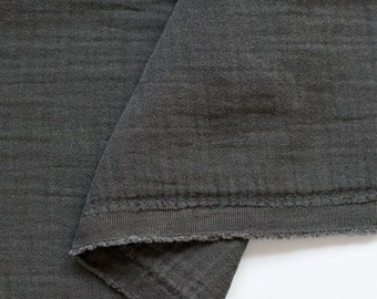 Crinkled Double Gauze Fabic Charcoal By the Yard