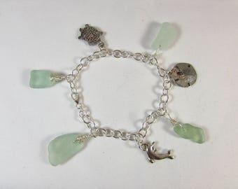 Green Hawaiian Beach Glass Charm Bracelet/ Sterling Silver Charm Bracelet/ Handmade/ Hand Crafted/ Hawaiian Sea Glass Charm Bracelet