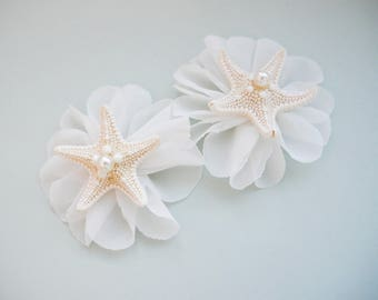 Set of 2 Starfish hair clips, Beach wedding Beach hair accessory Seashell Hair accessories  Mermaid headpiece, knobby, starfish hair pin