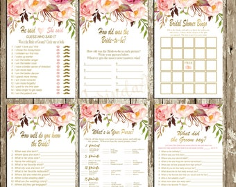 Bridal Shower Games Package Floral Bridal Shower Games Printable Games package INSTANT DOWNLOAD Bridal Shower Games Rustic Bingo He said she