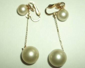 Vintage Crown Trafari Dangling Gold  Pearl  Clip Earrings