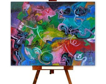 Modern Wall Decor, Peinture à l'huile, Abstrakt kunst, Abstract Oil paintings, Colorful Artistic Work, Constantin Galceava, Oil On Canvas