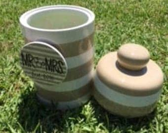Monogrammed Happy Everything Neutral Stripe Canister