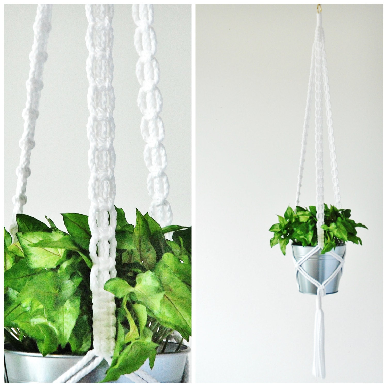 Hanging Planter Macrame Plant Hanger Long White Plant