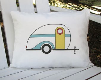 Travel Pillow, Camper Pillow, Teardrop Trailer Pillow, Car Pillow, Teardrop Trailer, Vintage Camper, Trailer Pillow, Throw Pillow,