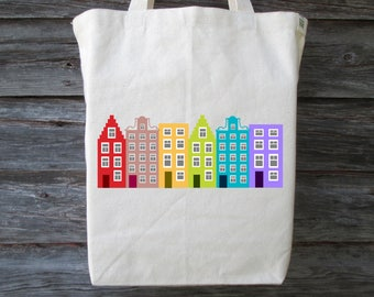 Cotton Canvas Tote, Dutch House Tote, Dutch House, Netherlands, Holland House, Amsterdam House, Dutch Tote, Cotton Tote,