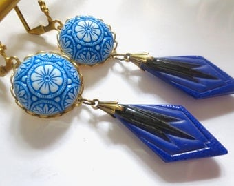 Bold Art Deco earrings long dramatic Art Nouveau earrings vintage style geometric drop earrings 1920s 1930s earrings blue statement earrings
