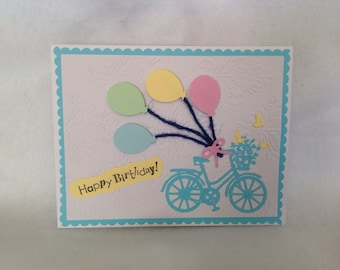 Happy Birthday handmade greeting card, bicycle card