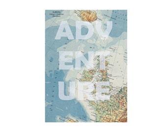 A4 print printing poster picture adventure Great Britain England Ireland sea atlas