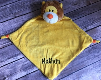 Personalized Lion Baby Cubbie Blanket, Personalized Baby Stuffed Animal Blanket, Lion Blanket