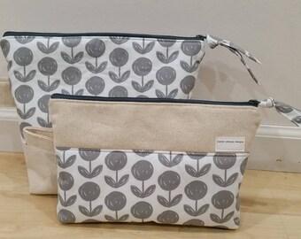 Gray Floral Make Up & Toiletry Bag Set, Make Up Bag, Travel Bag, Gift Set
