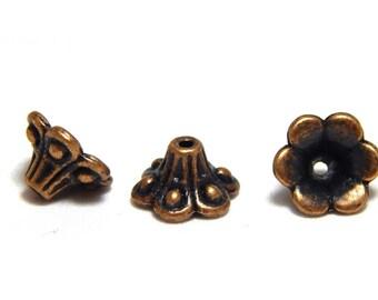 16 Red Copper Tone Bead Caps, Trumpet Bead Caps, Flower Bead Caps, Trumpet Flower Caps, Bead Ends, Bead Caps, 10mm Bead Caps, CC-19