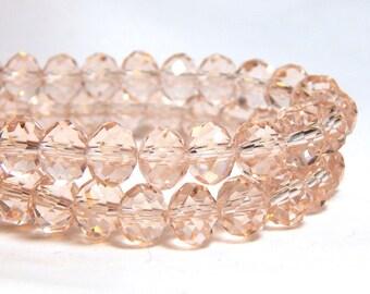 Peach Crystal Beads, Light Peach Crystal Beads, Light Peach Beads, Pale Peach Beads, Peach Crystal Beads, Peach Crystals, D-C42