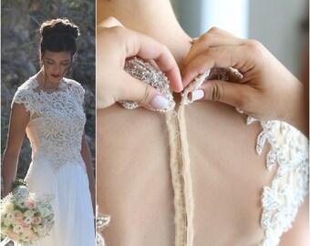 Two Piece Wedding Dress, Modest Wedding Dress, bohemian wedding dress, Bridal gown, 2 piece wedding dress, silk wedding dress, unique bride