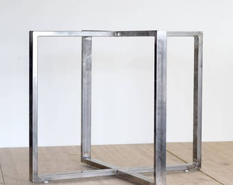 Brushed Stainless Steel Frame Dining Table Legs Metal 28