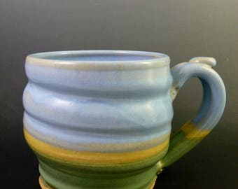 Spiraled Beer Mug, Wheel-Thrown Stoneware, Lavender, Green and Yellow