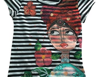 Handpainted t-shirt - Turban girl