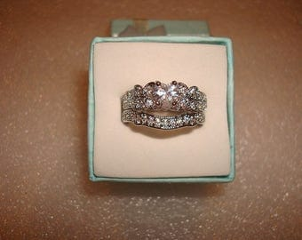 Heart Cut Diamond Cut White Sapphire 925 Sterling Silver Engagement Wedding Ring Set Size 7.75
