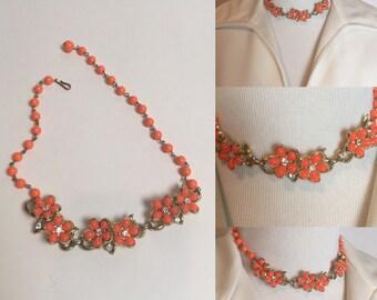1950s Thermoset and Rhinestone Orange Flower Choker Necklace