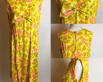 S/M 1960s Sherbet Floral Valley of the Dolls Shift Dress