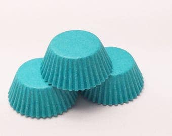 48 Teal Blue Aqua Size Cupcake Liners Baking Cups Greaseproof Wrappers
