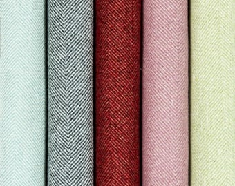 McAlister Textiles Herringbone Semi-Plain Wool-look Fabric by Metre/Half Metre - Red, Sky Blue, Sage Green, Lilac Purple, Charcoal Grey