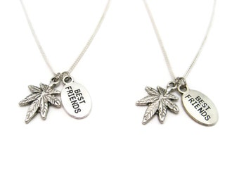 Best Buds Necklace Set Pot Leaf Necklace Weed  Necklace Marijuana Jewelry Best Friends Gifts  Be Kind 420 Necklace Stoner Necklace Set