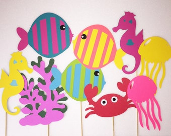 Under the Sea Party Photo Booth Props Set of 9, Under the Sea Party Decorations,Under the Sea Baby Shower Decorations,Under the Sea Birthday