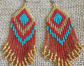 Gold Turquoise and Red Beaded Pyramid Earrings