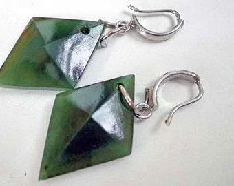 Nephrite jade faceted lozenge earrings . S315
